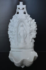 Lady of Grace 19 th century porcelain holy water font