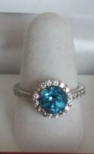 100 Facet  Blue Cubic Zirconia  Ring Platinum over Sterling Silver