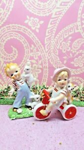 Vtg Two Little Boys W Red Striped Shirts w Bunny Rabbit & Red Tricycle W Puppy