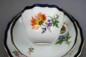 Meissen Porzellan Kaffeegedeckt 3Tlg Kobalt Blau Tasse Blumen NEU  NR.2
