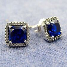 4Ct Princess Cut Blue Sapphire Diamond Halo Stud Earrings 14K White Gold Finish