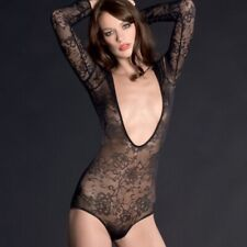 "Maison Close ""VILLA DES LYS"" Black Lace Bodysuit Sleeves/Manches/Mouwen - Large"