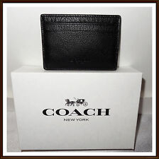 NWT $95 Coach Men's Calf Leather Credit Card Money Clip Wallet Gift Set BLACK