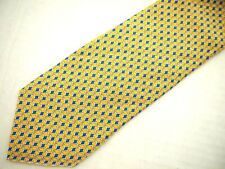 """Brooks Brothers Makers Mens Necktie Tie Yellow Blue Geometric Chain Link 60"""""""