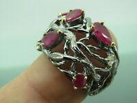 Turkish Handmade Jewelry 925 Sterling Silver Ruby Stone Women Ring Sz 7