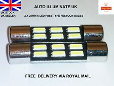 28mm 6 LED SUN VISOR CAR VANITY LIGHT LAMP FESTOON BULBS WHITE 269 T6.3 12V