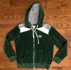 New York Jets Touch Alyssa Milano Green Velour Hoodie Sweatshirt Women's Large