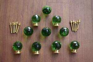 Vintage Victorian Type Brass Base Green Round Cut Glass Door Knob Pull 10 Pic