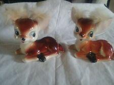 Vintage Deer With Fur Made In Japan Figurines