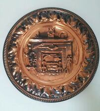 VTG Decorative Plate Copper 10-1/2 inches Diameter Early American Fireside Theme