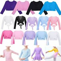 Kids Girls Ballet Dance Wrap Top Crossover Cardigan Long Sleeves Dancewear 2-12