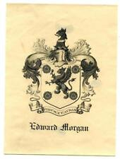 Early 1900s Engraved Bookplate Ex Libris Edward Morgan Crest