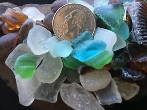 genuine surf tumbled beach sea glass 50+ lot Hawaii arts crafts collectibles