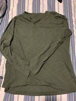 Banana Republic Men's XLARGE Midnight Green Long Sleeve Pullover Henley Shirt