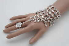 Metal Hand Chain Slave Ring Flowers Women Wrist Bracelet Fashion Jewelry Silver