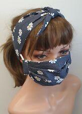 Face mask and rockabilly headband set of 2 cotton mask head scarf gift set daisy