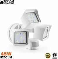 Bobcat 45W LED Motion Activated Three Head Outdoor Security Area Light 50K-White