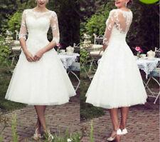 White/Ivory Tea Length Wedding Dress Bridal Gown Lace Half Sleeve Custom Size