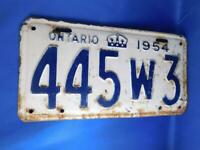 ONTARIO LICENSE PLATE 1954 445W3 VINTAGE CANADA ANTIQUE CAR SHOP GARAGE SIGN