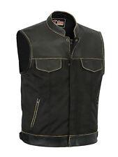 New Mens Codura Motorcycle Biker Waistcoat Brown Real Leather Trim Gillette Vest