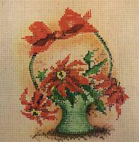 Vintage Mid Century Christmas Greeting Card Cross Stitch Basket Poinsettias