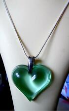 LALIQUE LARGE PRETTY GREEN CRYSTAL HEART& SILVER HALLMARKED CHAIN /  NEW