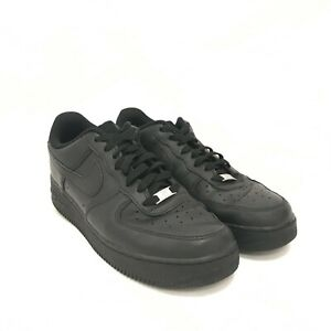 Nike Air Force 1 Trainers Size UK 11 Black Leather Lace Up Men's 291475