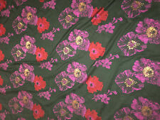 Red & Purple Floral - Faux Silk Brocade Fabric 57""