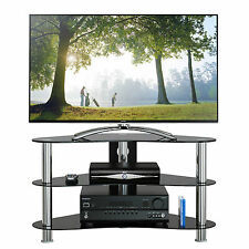 "NEW GT7 PLASMA LCD 26""- 42"" CURVED BLACK GLASS TV STAND CABINET TABLE CHROME"