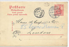 GERMANY REICH TRADE POST CARD LUBECK - LONDON 8/8/1903;VARIOUS MARKINGS.