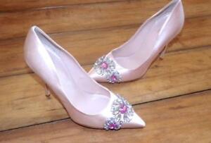 KATE SPADE ~ New! Woman's 5 1/2 5.5 ~ Ballet Pink CRYSTAL JEWEL SILK Heels Shoes