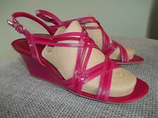 CLARKS PINK MIX SOFT LEATHER STRAPPY WEDGE SANDALS SZ UK 7 BNWOB