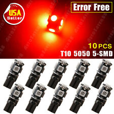 10X Pure Red T10 5-SMD Wedge 5050 US Canbus Error Free LED Light 168 194 501 12V