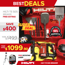 HILTI TE 505 BREAKER, PREOWNED, FREE ROTATING LASER, CHISELS, EXTRAS, QUICK SHIP