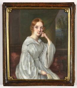 "Johann Andreas Hirnschrot ""Portrait of a Swiss lady"", fine miniature, ca. 1840"