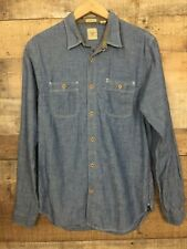 Dockers Mens Chambray Shirt Long Sleeve Size Small Button Up Blue