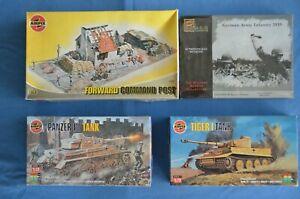 4 Kits Airfix Forward Command Post, Tiger and Panzer Tanks, Pegasus Infantry New