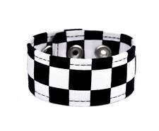 Black & White Checkered Fabric Wristband Bracelet Punk Goth Skater Alternative