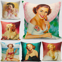18'' Oil Painting Marilyn Monroe Cotton Linen Throw Pillow Case  Cushion Cover