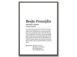 Bild Kunstdruck Deko Din A4 Definition Beste Freundin Geschenkidee Geburtstag