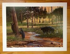 Ducks Unlimited Black Bears Print 1998 Doug Berg signed Wildlife Animals Bear WI