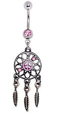 Belly Ring Dream Catcher Peace Sign w/Pink Gem Dangle Naval Steel Body Jewelry