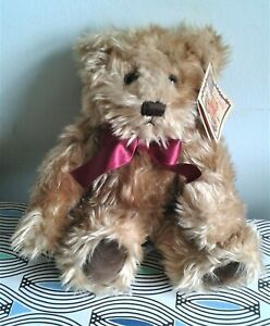 """Gregory Antique Repro Teddy Bear 10"""" Russ Soft Toy Plush Comforter Ribbon TAGS"""