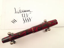 Serviced Waterman 92V Red And Bronze Lever Fill Fountain Pen 14kt Flex Nib