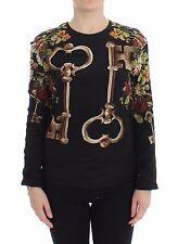 NWT $1400 DOLCE & GABBANA Black Key Floral Print Silk Blouse Top IT36 / US4 / XS
