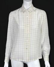HERMES Vintage NWT White & Blue Windowpane Check Silk Blouse 38