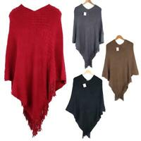 Women Poncho Sweater V Neck Knitted Pullover Ladies Warm Shawls Wraps Capes