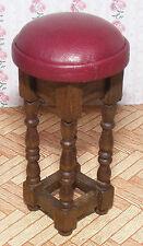 Échelle 1:12 un seul bordeaux en cuir Grand tabouret maison de poupées miniature Pub Bar