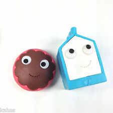 kidrobot YUMMY BREAKFAST White Milk & Pink Donut Erasers Set of 2 Kawaii BTS