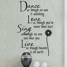 Dance love Flower Wall Quotes decals Inspirational stickers decor art home mural